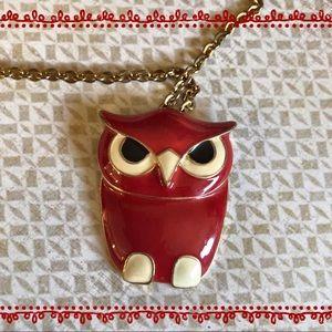 Jewelry - ⭐️Vintage Style Red Enamel Owl Pendant Necklace ✨